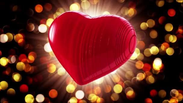 Šťastný Valentines den. Video pozdravy na Valentýna. Ve středu červené srdce. 4k