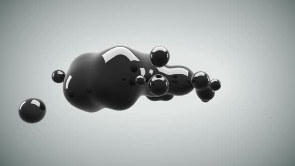 Abstract 3D render illustration - deformed figure. metaball black color drop