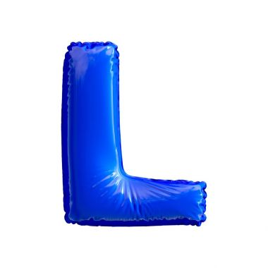 Blue letter L made of inflatable balloon isolated on white background. 3d rendering stock vector