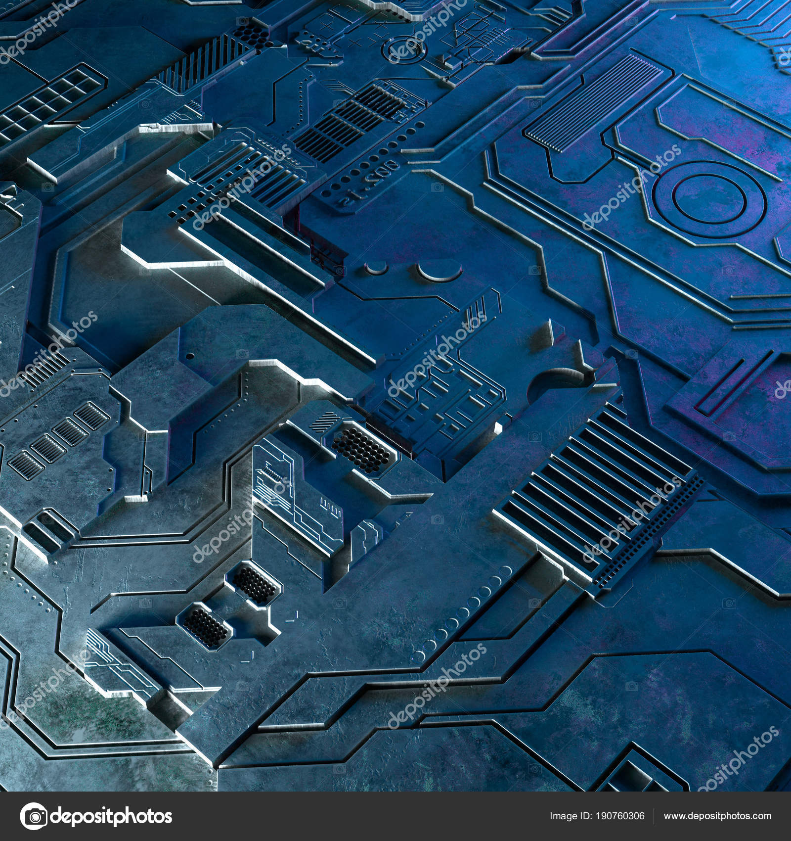 Abstract Technological Background Made Of Different Element Printed Designing A Circuit Board And Getting It Flares 3d Rendering Photo By Irochka