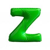 grüner Buchstabe z aus aufblasbarem Ballon isoliert auf weißem Hintergrund