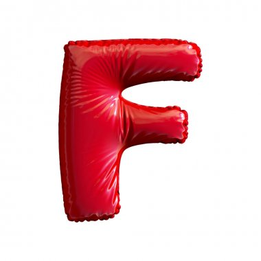 Red letter F made of inflatable balloon isolated on white background. 3d rendering stock vector