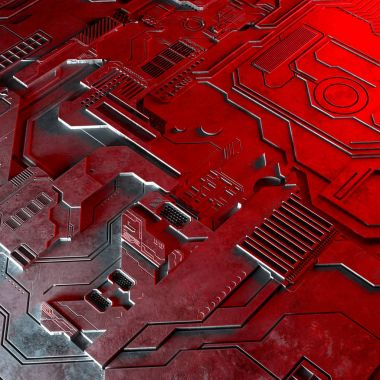 Abstract technological background made of different element printed circuit board and flares.