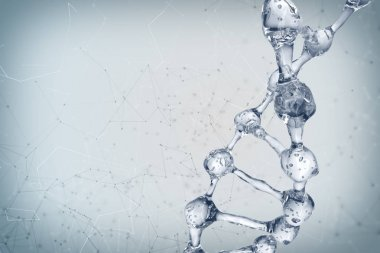 3d illustration of DNA molecule model from water.