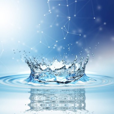 Blue water splash isolated on white background. 3d rendering stock vector