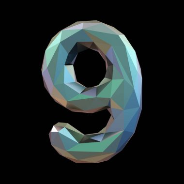 Number 9 nine in low poly style isolated on black background. 3d
