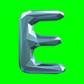 Velké písmeno latinky E v nízké poly stylu izolované na zeleném pozadí
