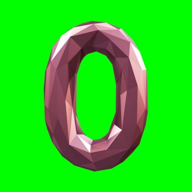 Number 0 zero in low poly style isolated on green background. 3d