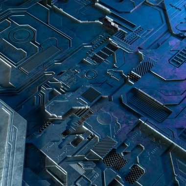 Abstract technological background made of different element printed circuit board and flares . 3d rendering