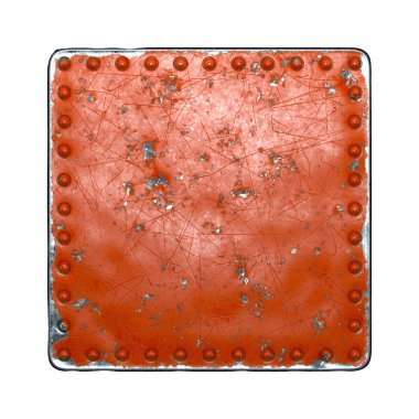 Painted red metal with rivets in the shape of a square in the center on white background. 3d