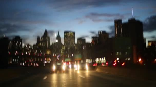 Movement on night road with cars in New York