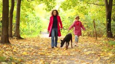 Dívka s matkou chůze se psem v parku