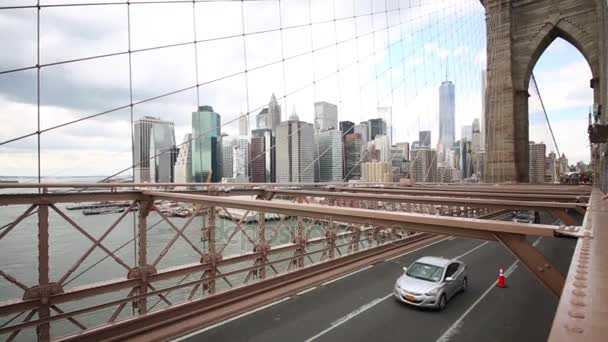 Cars of Brooklyn Bridge and Manhattan in New York City