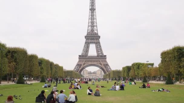 People relax on the grassy lawn near the Eiffel Tower