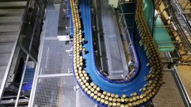 Conveyor with moving canned beer in brewery