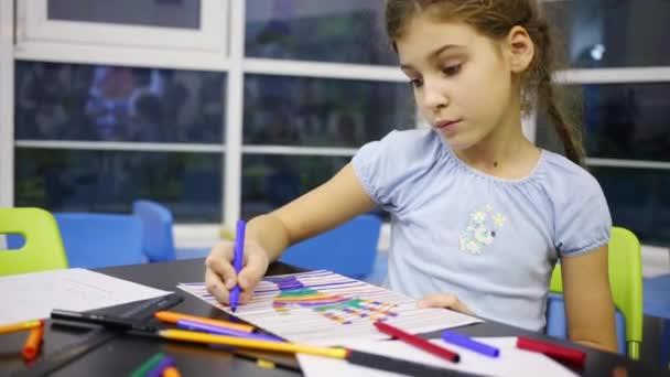 Lány színes vonalakat rajzol, jelölőkkel