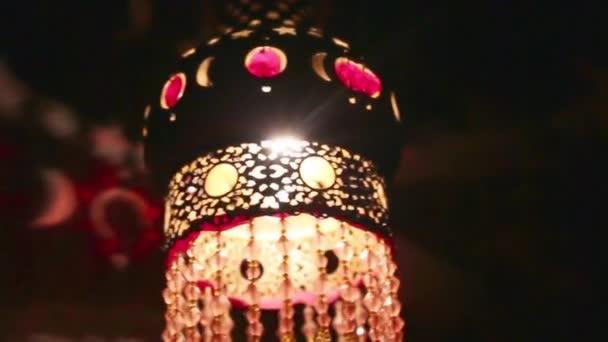 Burning lamp decorated in dark room