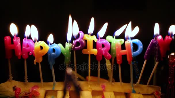 Happy Birthday Candles Burn Stock Footage