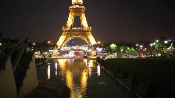 Pond with reflection and Eiffel tower at night