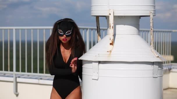 Katze im schwarzen Kostüm posiert nahe Rohr auf Dach