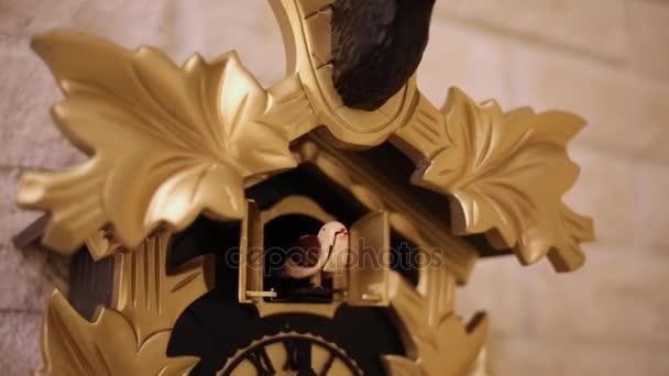 ae77fee5a54 Fechar Cuco Mecânico Relógio Parede Com Folhas Ouro — Vídeo ...