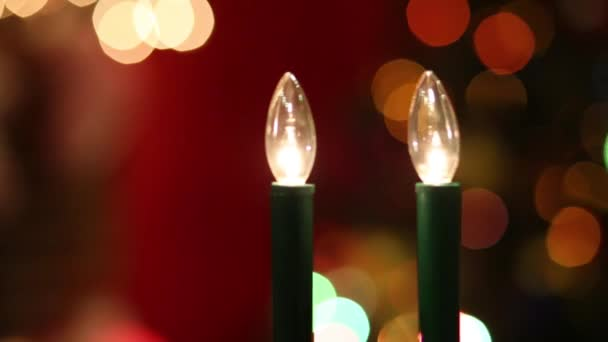 Close Up View Of Electric Candles And Bright Christmas Tree Variable Focus