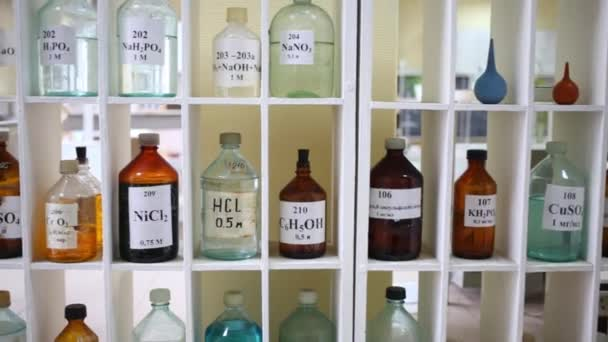 Bottles on shelves with chemical substances and preparations. Text on bottle: disulfonic