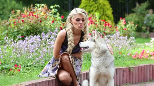 Blonde woman sitting on border, and stroking dog Husky in park.