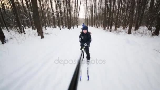 Kluk jde na lyže drží hůl v lesích na zimní den a všem ostatním rozostřený