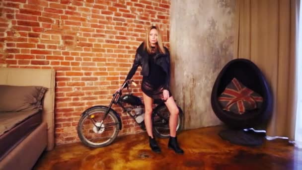 Pretty Woman Black Dress Poses Moped Studio Stock Video Pahal