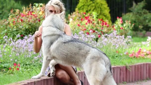 Frau sitzt am Rand und Köder Hundefutter im park