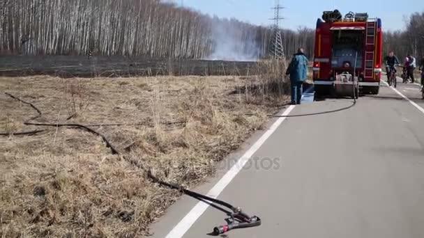 Požární hadice, požární vůz a hasič kopání hořící zbytky trávy a v parku.