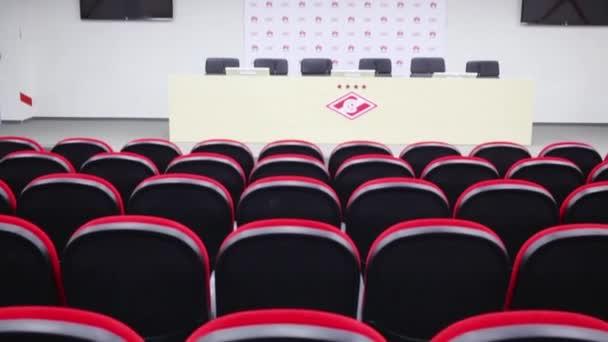Moskva – 25. prosince 2014: Zasedací místnost v Spartak stadium. Nový stadion je součástí seznam objektů pro hry bude hrát na Mistrovství světa ve fotbale 2018