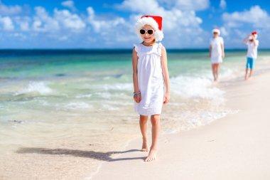 Family at beach on Christmas