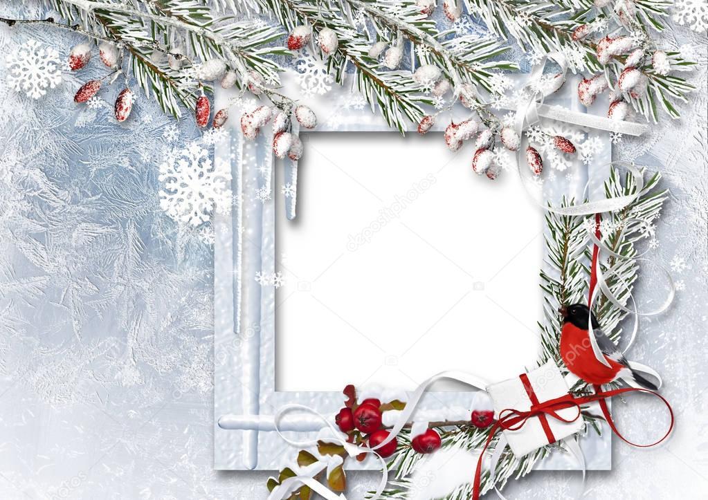 Weihnachten Hintergrund mit Fotorahmen — Stockfoto © chiffa #129544640