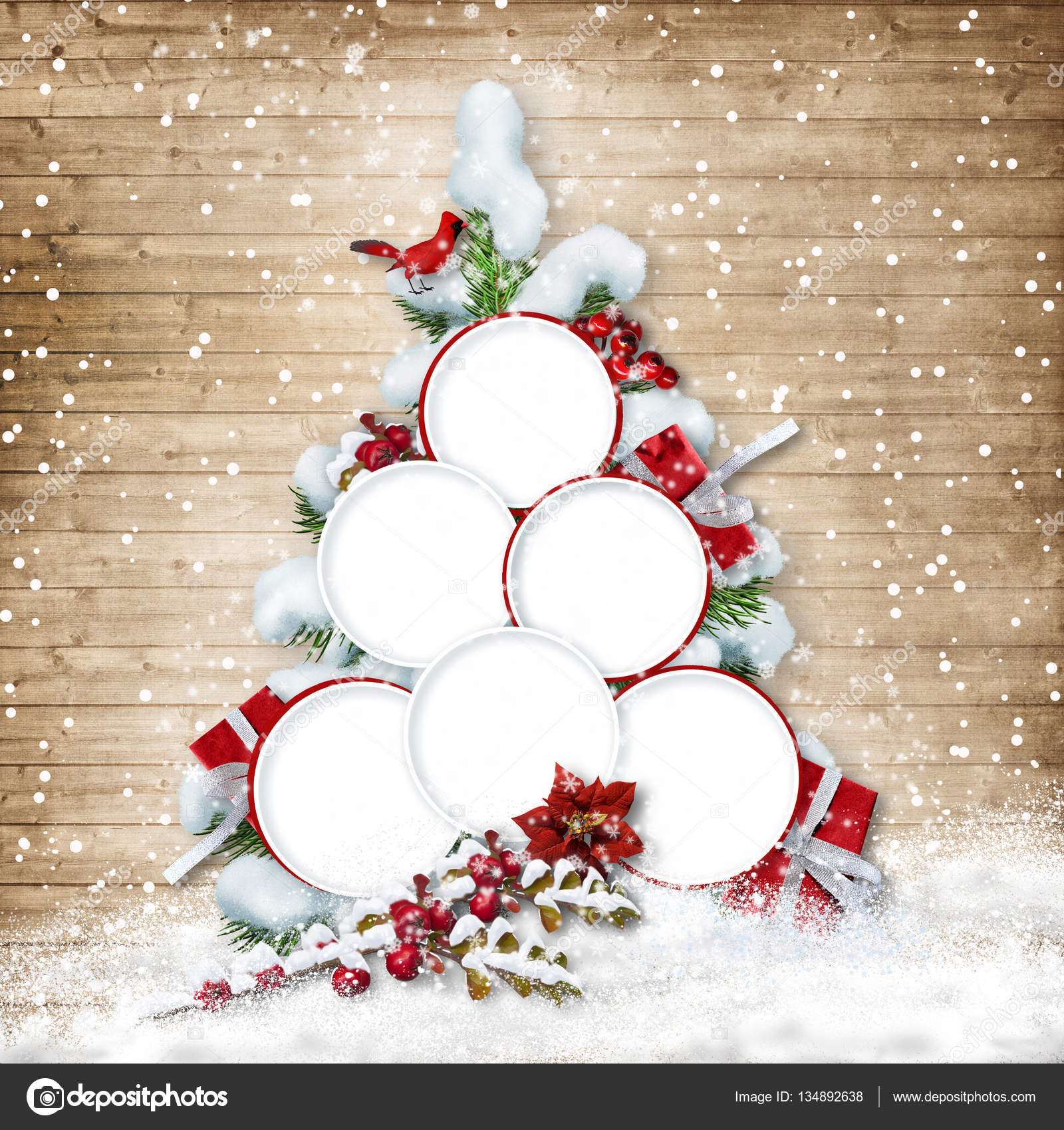 Árbol de Navidad con marcos para la familia — Foto de stock © chiffa ...