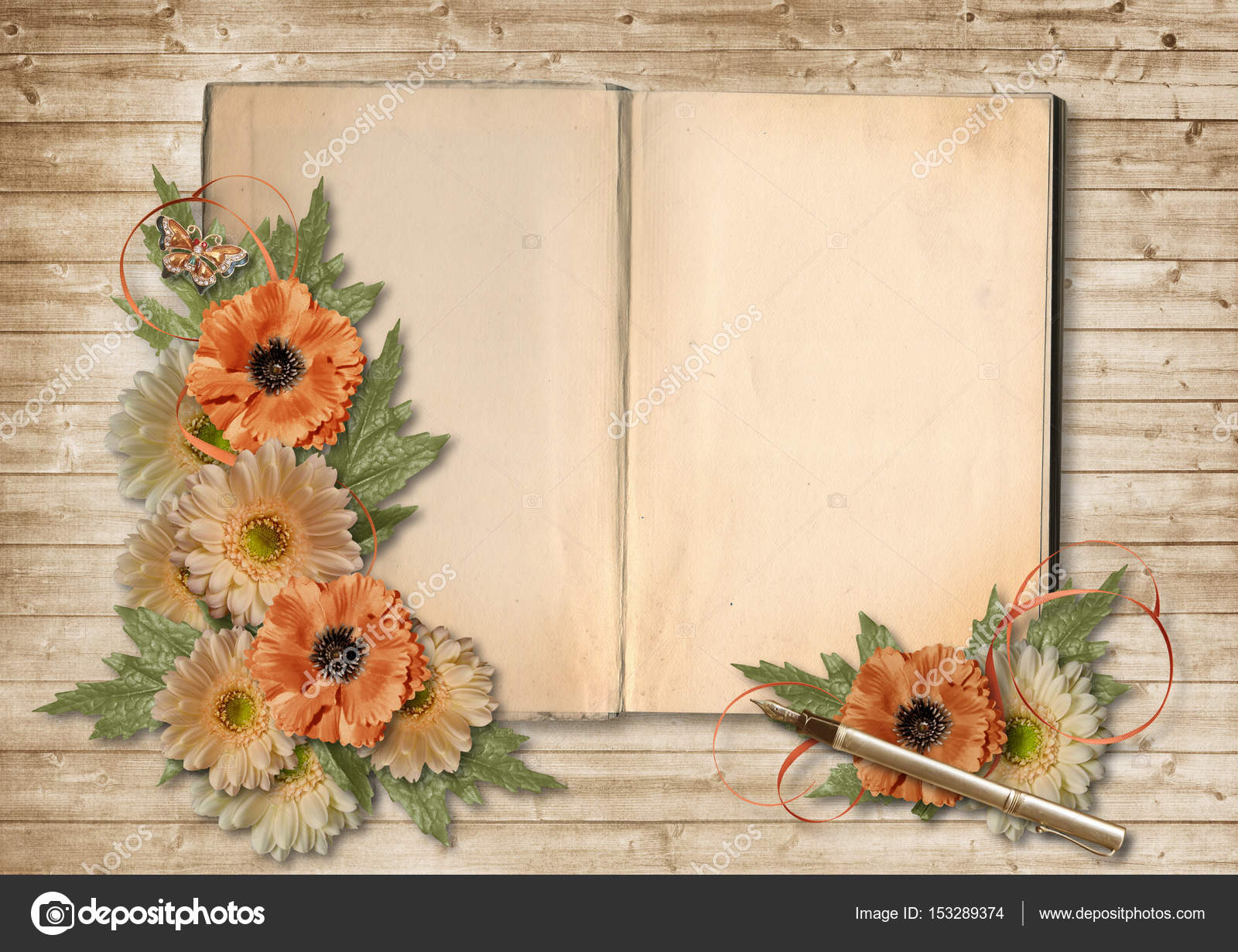 Vintage Book And Beautiful Flowers Stock Photo C Chiffa 153289374