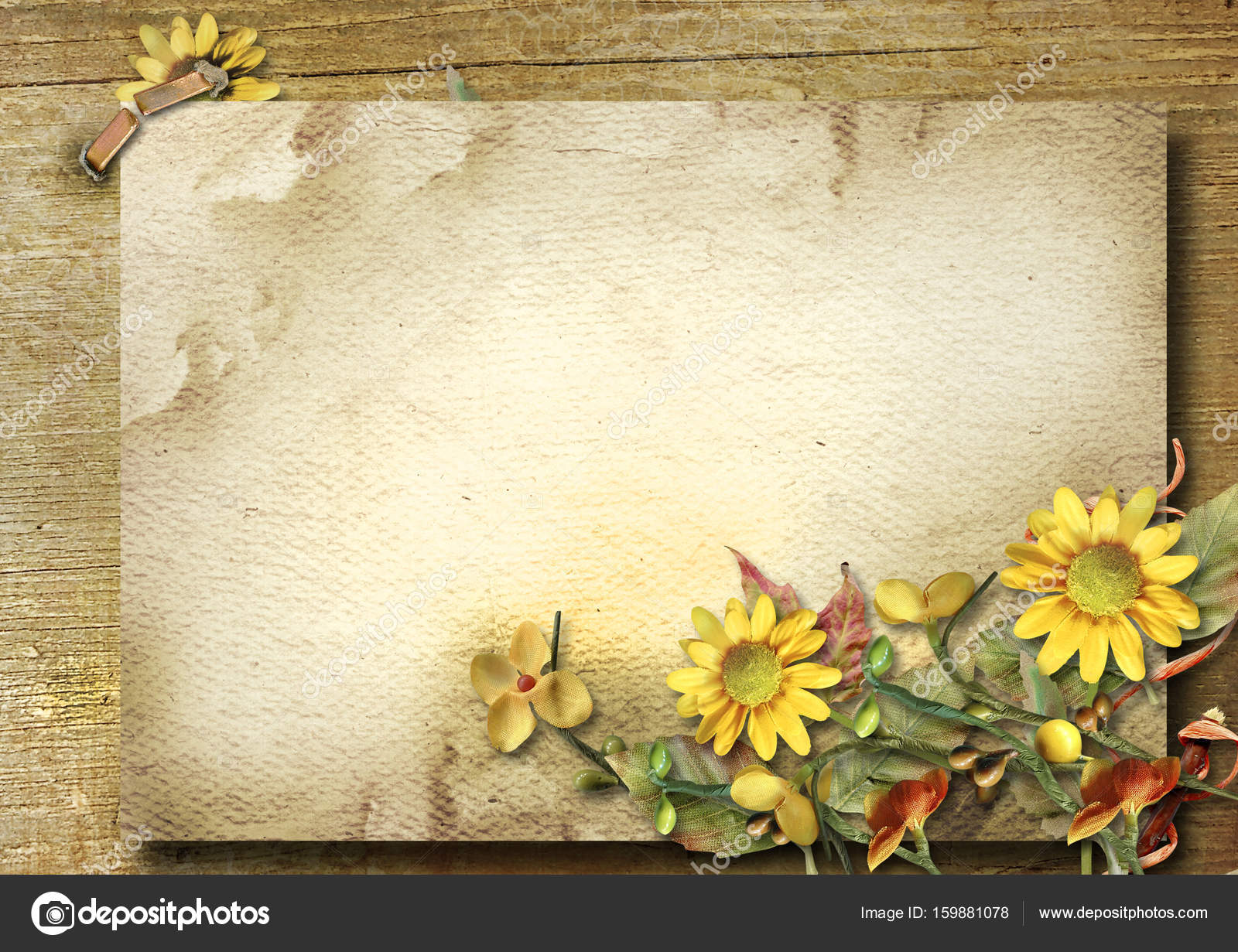 Autumn Vintage Postcard With Bouquet And Sunflower On A Wooden Background Place For Photos Congratulations Photo By Chiffa