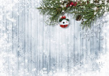 Jingle bells on Christmas tree with copy space
