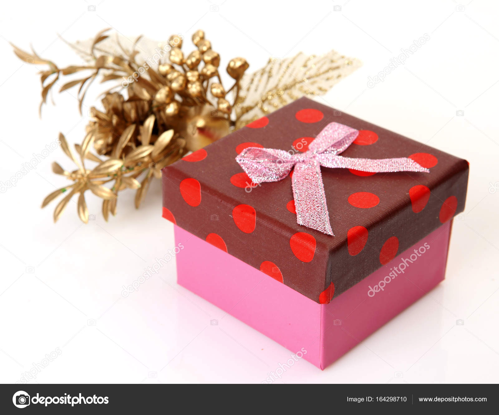 box with a surprise and Christmas decorations — Stock Photo ...