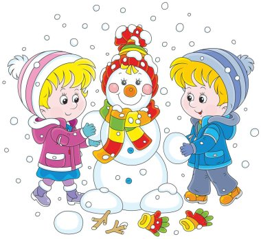 A little girl and a little boy making a smiling snowman with a colorful cap and a scarf clip art vector