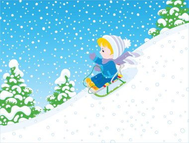 Down The Snowy Hill Free Vector Eps Cdr Ai Svg Vector Illustration Graphic Art