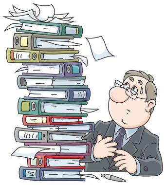 Clerk with folders