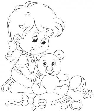 Little girl and Teddy bear