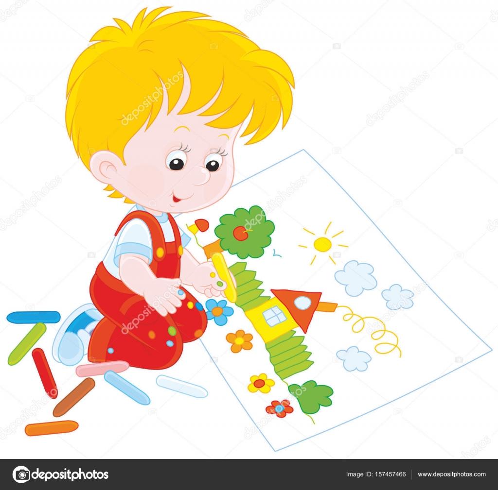 Petit Enfant Dessin Image Vectorielle Alexbannykh 157457466