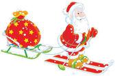 Weihnachtsmann mit seiner Spielzeugtasche