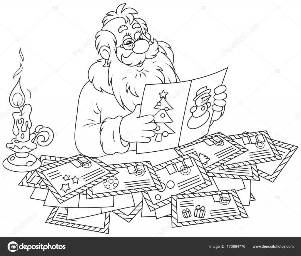 Santa Claus Reading Letters Stock Vector C Alexbannykh 173694776