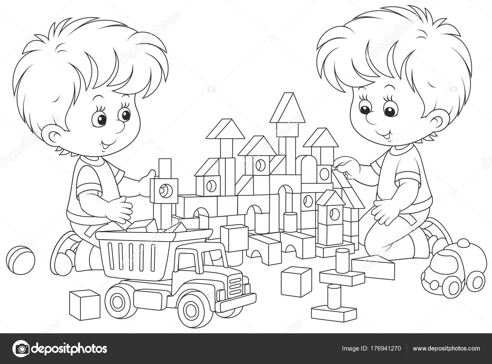Blanco Negro Ilustración Vector Los Niños Construyendo Castillo ...