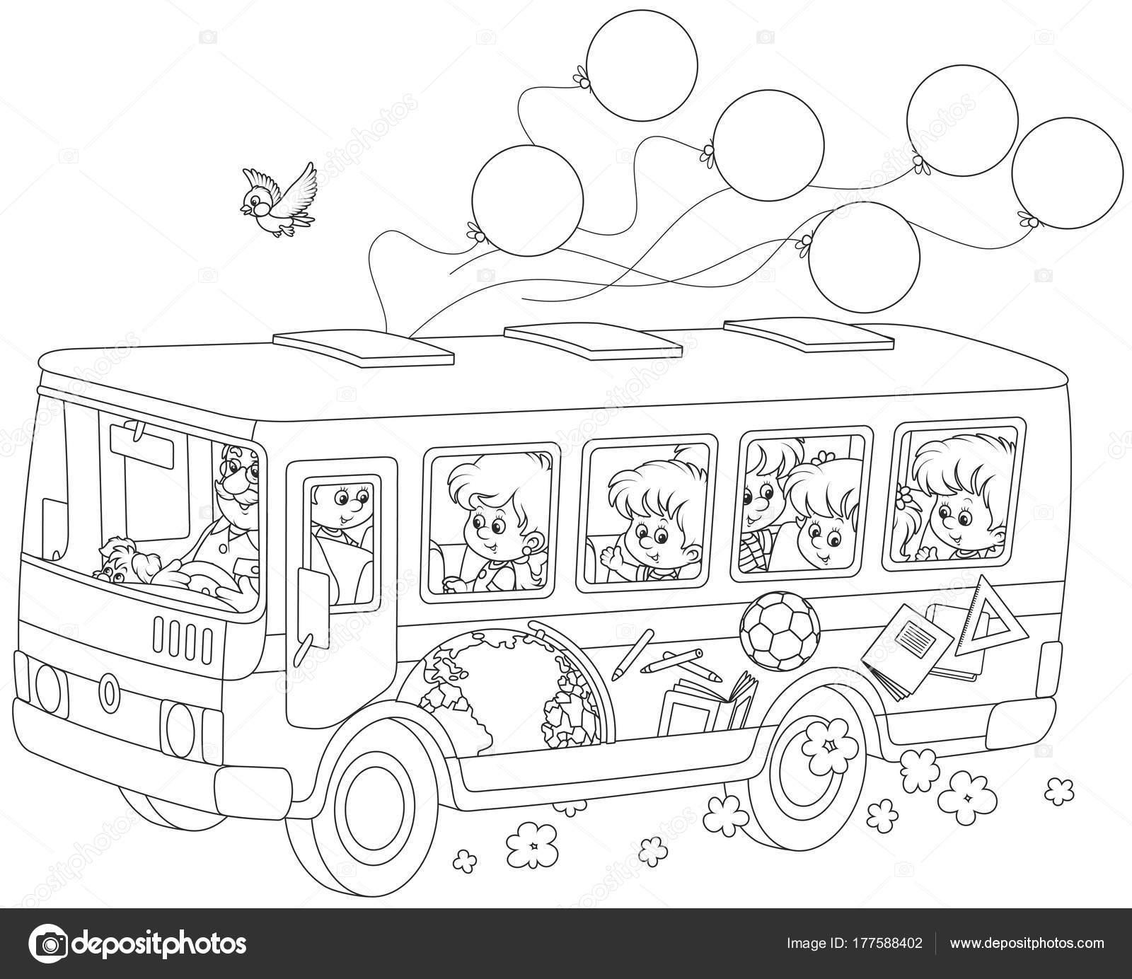 Kleine Kinder Reiten Einen Schulbus Mit Aufklebern Und Luftballons ...