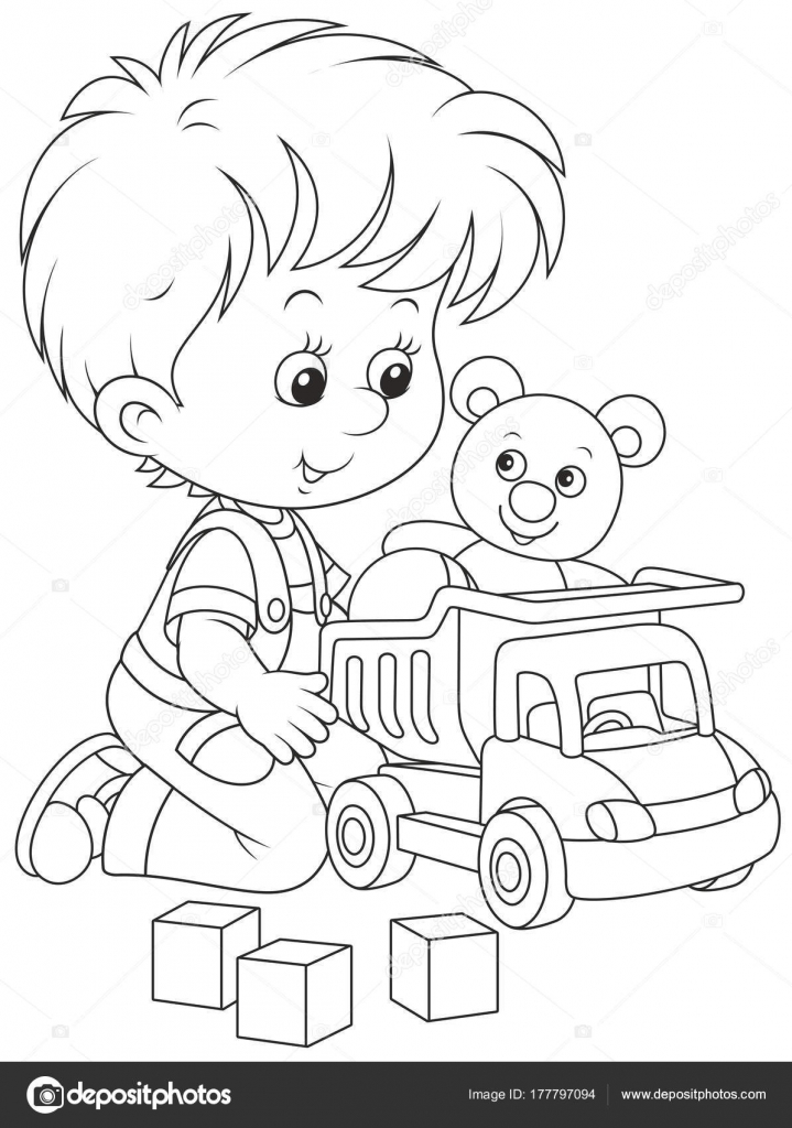 Ilustración Vector Blanco Negro Niño Jugando Con Camión Juguete Oso ...